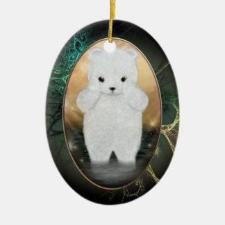 Flaumige polarer Bärn-personalisierte Verzierung Keramik Ornament