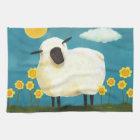 Flaumige Schafe u. gelbes Blumen-Tee-Tuch Küchentuch