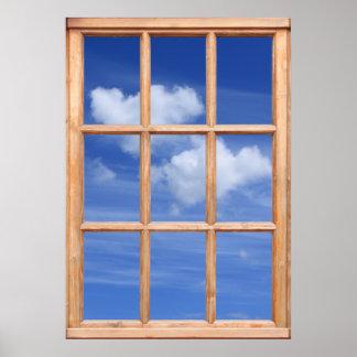 Flaumige weiße Wolken-Ansicht - Fenster-Effekt Poster