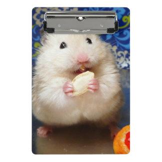 Flaumiger syrischer Hamster Kokolinka, das einen Mini Klemmbrett
