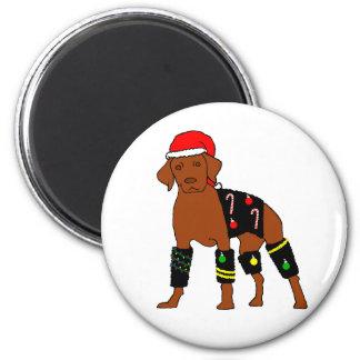 Flausch-Weihnachten Vizsla Runder Magnet 5,7 Cm