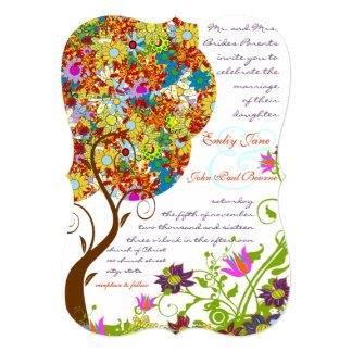 Flecken-Arbeits-Blumen-Liebe-Baum-Hochzeits-Einlad Personalisierte Einladung