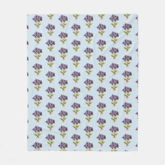 Fleece-umfassendes lila Veilchen-Muster hellblau Fleecedecke