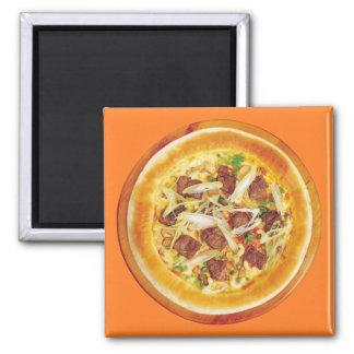 Fleisch-Pizza Quadratischer Magnet
