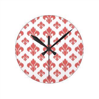 Fleur De Lis 2 Cayenne Round Wall Clock