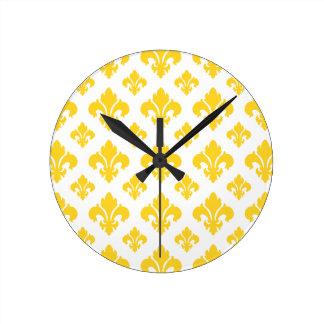 Fleur De Lis 2 Freesia Wall Clocks