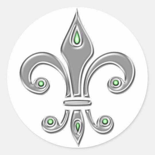 Fleur de Lis, Trinity Symbol, Lilie, Iris Runder Aufkleber
