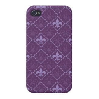 Fleur de Lys Muster lila glatter iphone 4 Kasten iPhone 4/4S Case