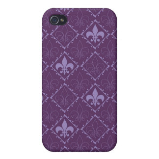 Fleur de Lys Muster lila stilvoller iphone 4 Kaste iPhone 4/4S Hüllen