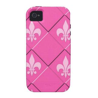 Fleur de Lys und rosa Muster der Quadrate iPhone 4/4S Cover