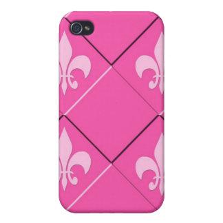 Fleur de Lys und rosa Muster der Quadrate iPhone 4 Case