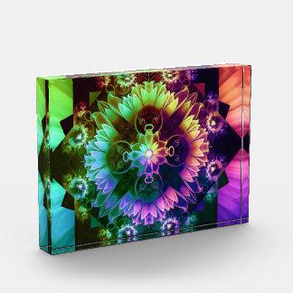 Fleur DES-Entlüftungen, Regenbogen-Fraktal-Blume Acryl Auszeichnung