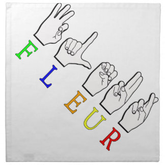 FLEUR FINGERSPELLED ASL NAMENSzeichen Serviette