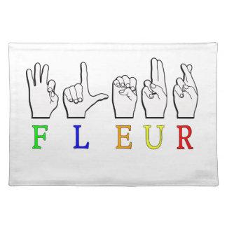 FLEUR FINGERSPELLED ASL NAMENSzeichen Stofftischset
