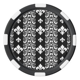Fleur Streifen 1 Schwarzweiss Poker Chips Set