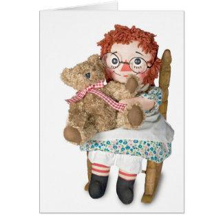 Flickenpuppe und Teddybär Grußkarte