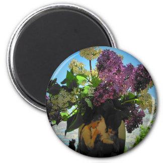 Flieder-und Vasen-Schwester-Picknick Runder Magnet 5,1 Cm