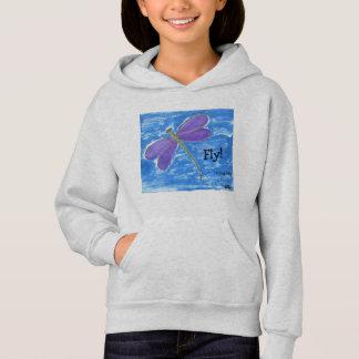 FLIEGE! lila Libelle auf Blau Hoodie