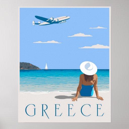 Fliege nach Griechenland Plakatdruck