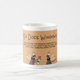 Fliege tut Windows Kaffeetasse