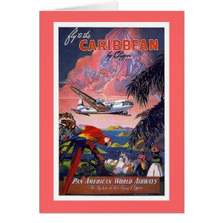 Fliege zu karibischem Vintagem Karte