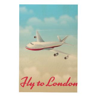 Fliege zum London-Flugzeugplakat Holzleinwand