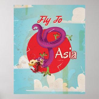Fliege zum Vintagen Reise-Plakat Asiens Poster