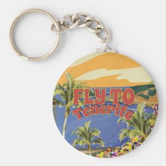 Fliege zum Vintagen Reise-Plakat Teneriffas Schlüsselanhänger