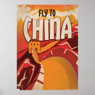 Fliege zum Vintagen Reiseplakat der China Poster