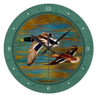 Fliegen duckt Seenebel-Grün Große Wanduhr