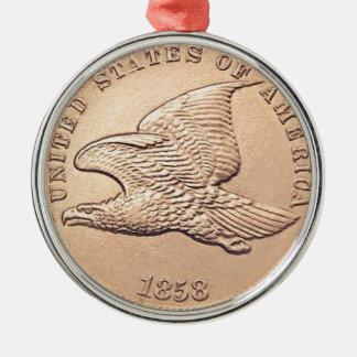 Fliegen-Eagle-Penny Silbernes Ornament