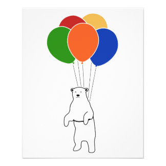 Fliegen-Eisbär mit Geburtstags-Ballonen