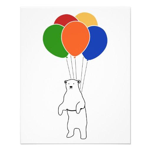 Fliegen-Eisbär mit Geburtstags-Ballonen Flyerbedruckung