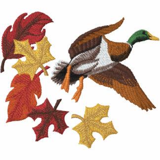 Fliegen-Ente und Herbstlaub Besticktes Shirt