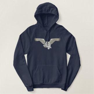 Fliegen-Eule Bestickter Hoodie