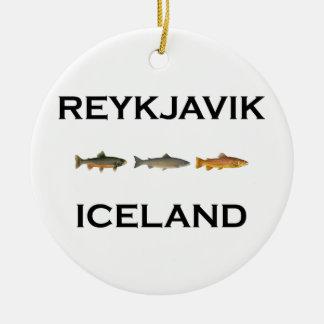 Fliegen-Fischen Reykjavik Island Keramik Ornament