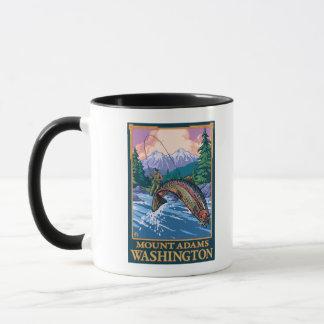 Fliegen-Fischen-Szene - Berg Adams, Washington Tasse