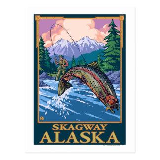 Fliegen-Fischen-Szene - Skagway, Alaska Postkarte