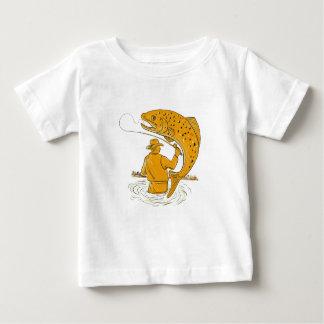 Fliegen-Fischer-wirbelndes Forelle-Zeichnen Baby T-shirt