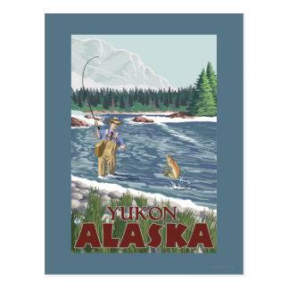 Fliegen-Fischer - Yukon, Alaska Postkarte