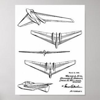 Fliegen-Flügel-Flugzeug-Patent-Kunst 1946, die Poster