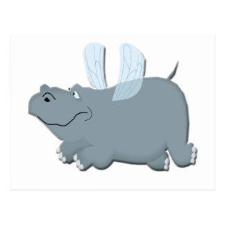 Fliegen-Flusspferd Postkarte