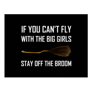 Fliegen-große Mädchen bleiben weg vom Besen Postkarte