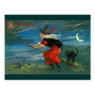 Fliegen-Halloween-Hexe mit Katze Postkarte