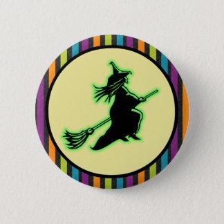 Fliegen-Halloween-Hexe Runder Button 5,7 Cm