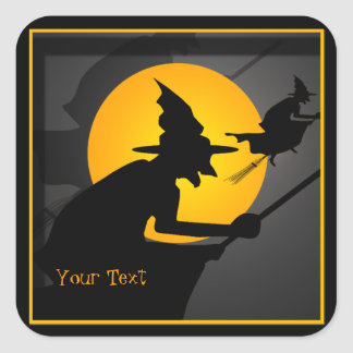 Fliegen-Hexe-Halloween-Aufkleber Quadrat-Aufkleber