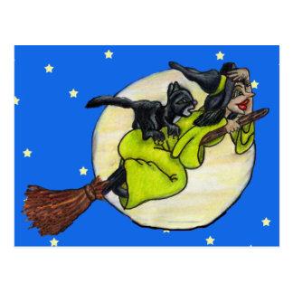 Fliegen-Hexe-Katzen-Mond-Sterne Postkarte