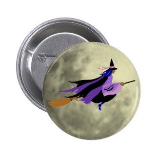 Fliegen-Hexe-Knopf Runder Button 5,1 Cm