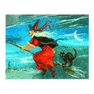 Fliegen-Hexe Postkarte