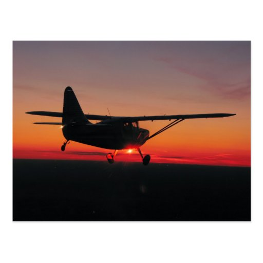 Fliegen in die Sonnenuntergangpostkarte Postkarte